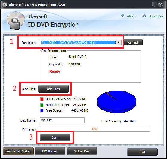 Password-protected and encrypted CD, DVD disc