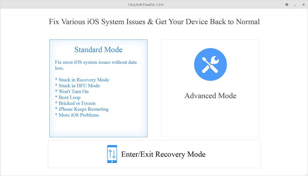 Восстановление системы UkeySoft iOS