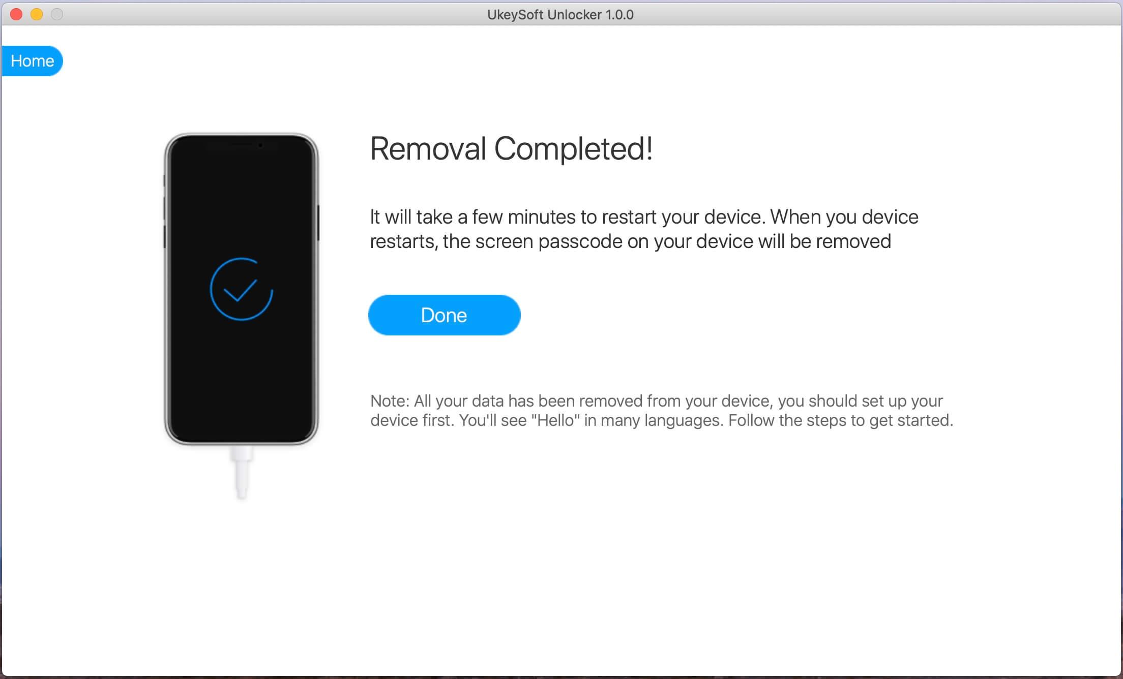 удалить пароль iphone