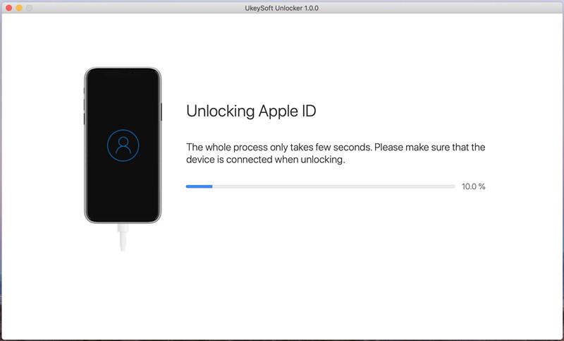 デバイス情報を確認し、[開始]ボタンをクリックして、AppleIDのロック解除を開始します。