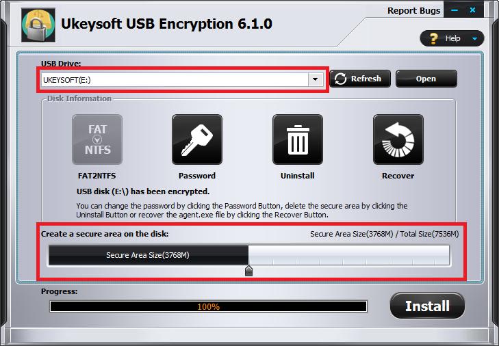 Шаг шифрования USB 2
