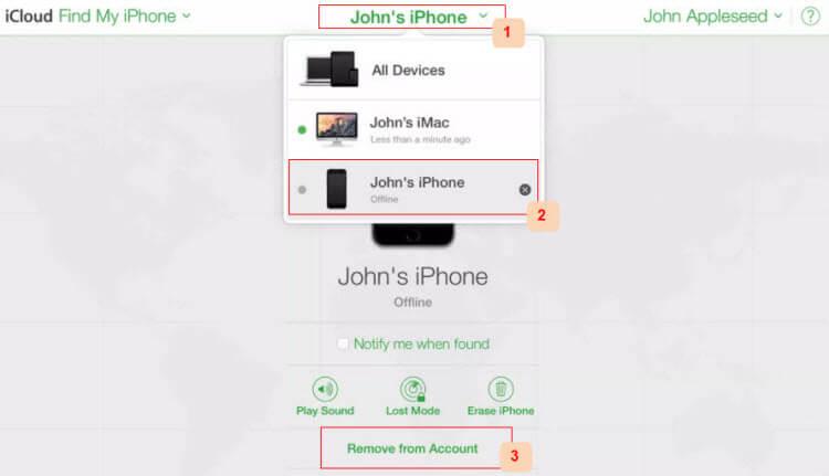 удалить устройство iPhone из iCloud