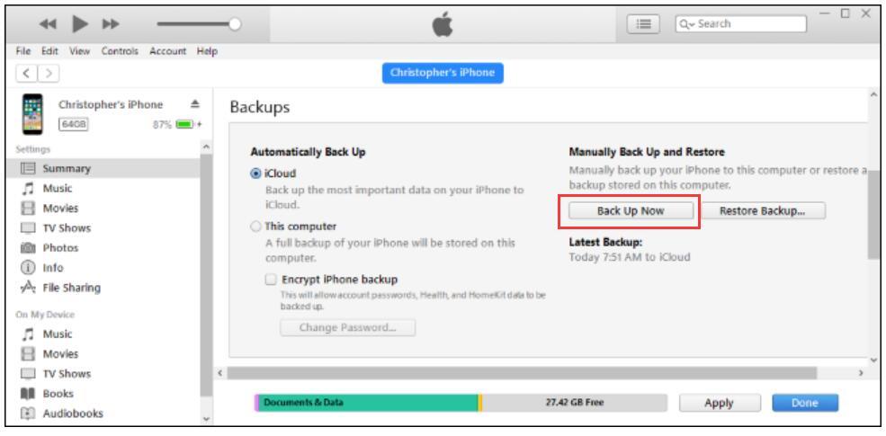резервное копирование iPhone в iTunes