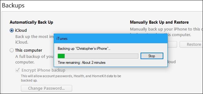 начать резервное копирование iPhone в iTunes