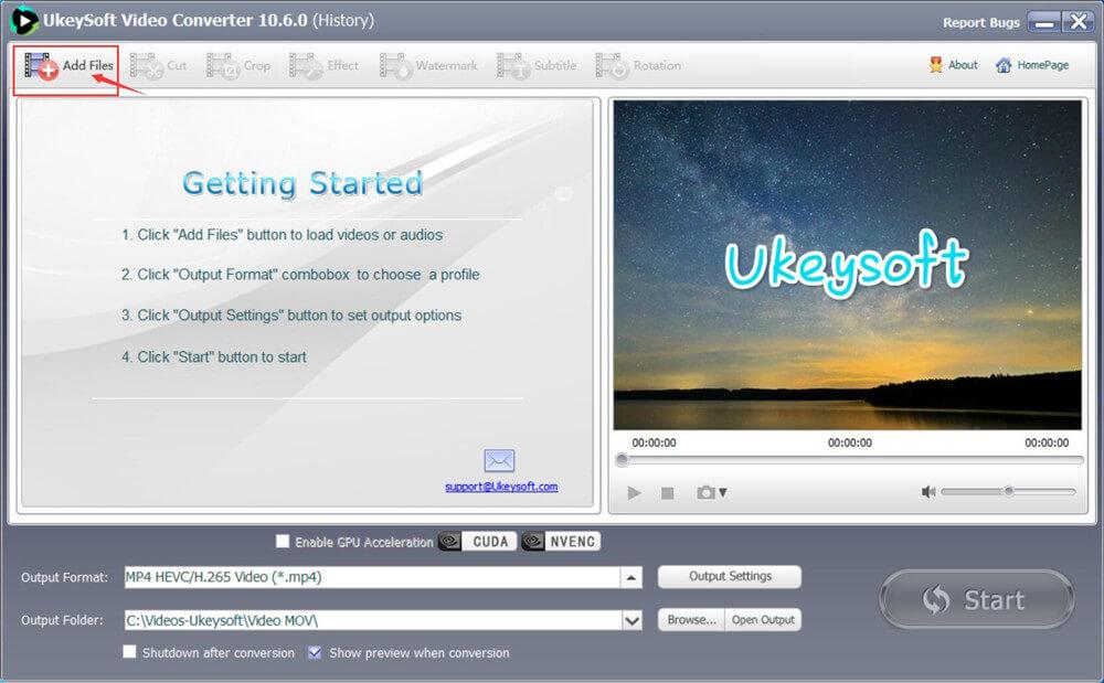 добавить MOV видео в видео конвертер ukeysoft