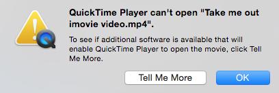 QuickTime не может открыть MP4 видео