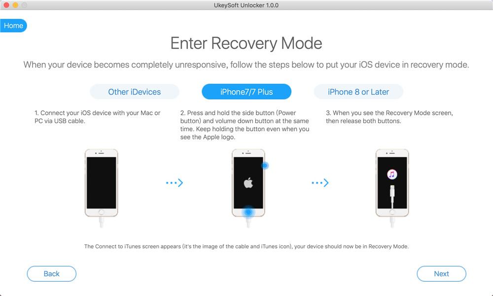 Basculer l'iPhone 7 en mode de récupération