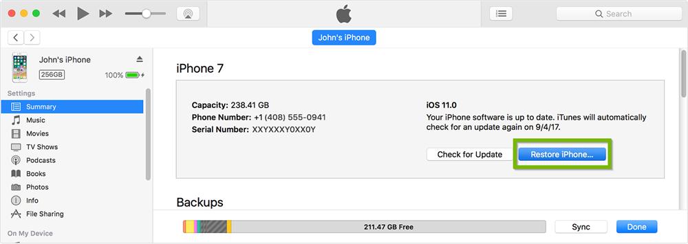 Восстановите iPhone с помощью iTunes