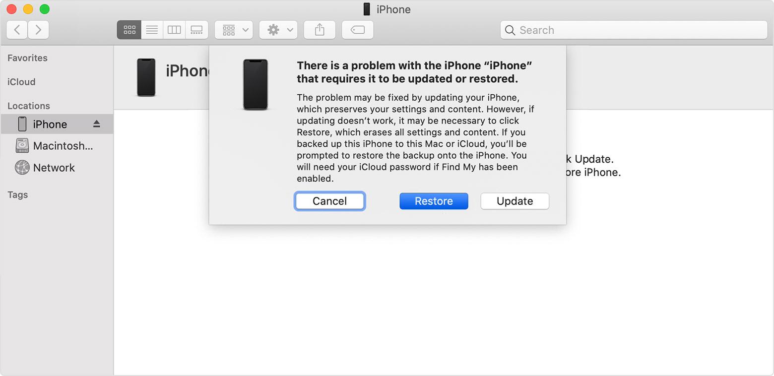 обходить забытый пароль на iPhone