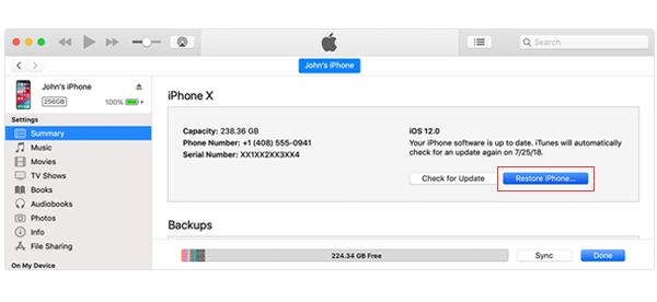使用iTunes還原iPhone以使iPhone退出驗證更新